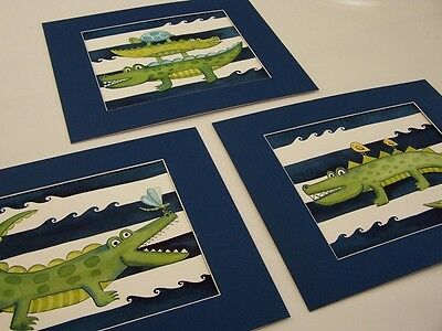 ALLIGATOR GATOR BATHROOM WALL DECOR BABY KIDS NURSERY ART  SHOWER matted navy