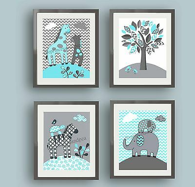 Aqua Blue Gray Elephants Giraffe Boys Children Chevron Zig Zag Nursery Art