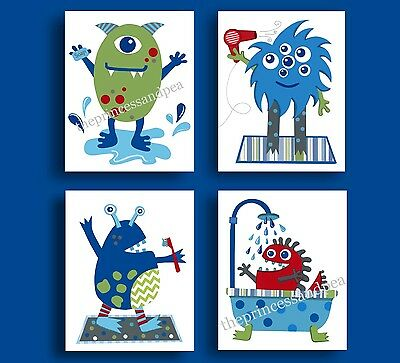 Little Monsters Children Kids Art Prints Jumping Beans Bathroom Bath Shower