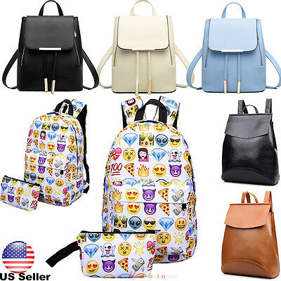 Women Girls Travel Backpack Emoji Shoulder School Book Bag Rucksack Canvas Bags