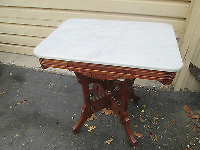 56218  Antique Eastlake Victorian Walnut Lamp Table Stand