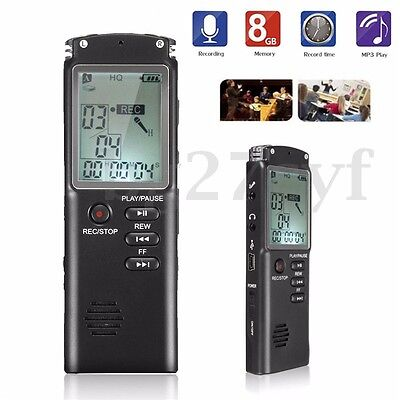 MP3 Player Digital Audio Voice Sound Recorder 650 hr Dictaphone Rechargeable 8GB