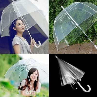 Large Clear Dome See Through Umbrella Handle Transparent Walking Brolly Ladiy OI