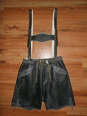 Oktoberfest Green Leather Lederhosen With Suspenders Size 46