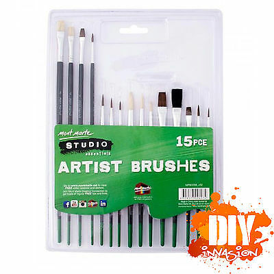 Mont Marte 15 pce Starter Paint Brush Set Natural & Synthetic Artist Brushes