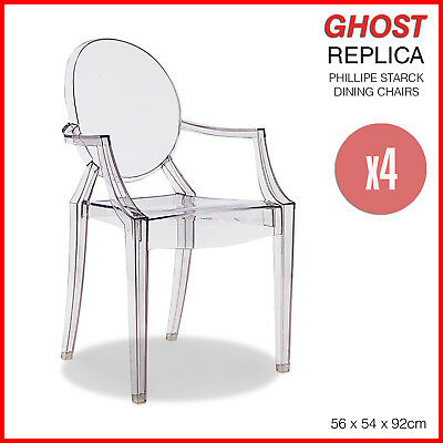 4x Replica Louis Ghost Chair Dining Armchairs Clear Philippe Starck Transparent