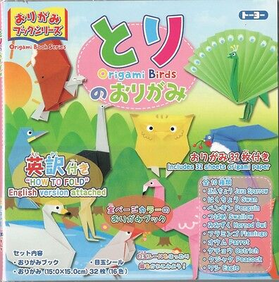 ORIGAMI BIRDS - with a book of instructions in English & Japanese - TOYO F/S
