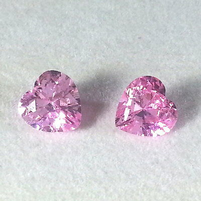 Video! A Pair 5.0 CT 100% Natural Spinel Loose Heart cut 7 x 7 mm very beautiful