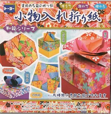 ORIGAMI DIY 5 MINI BOXES with English instructions  15cmx15cm F/S
