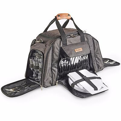 VonShef 6 Person Picnic Holdall Bag Set & Cooler Compartment  - Woven Grey