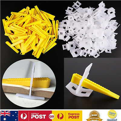 200pcs Tile Leveling System Yellow Wedges White Clips Spacers Flooring Lippage