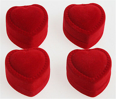 24PCS Velvet Cover Red Heart Shaped Jewelry Ring Show Display Storage Box Gift