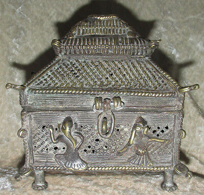 Antique Asian TIbetian Elephant Footed Incense Burner Mixed Metal Estate 16CmT