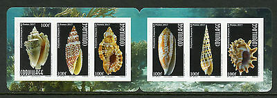 French Polynesia 2017 MNH Seashells Sea Shells Coquillage 6v S/A Booklet Stamps