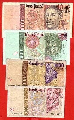 Portugal - Lot Of 4 Banknotes - 500/1000/5000/10000$00 (0748)