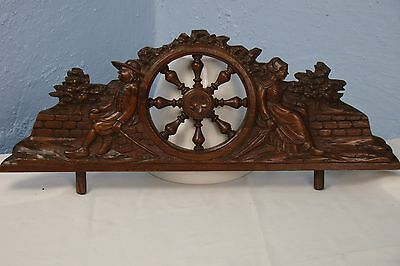 US0002 Antique Wood Pediment: French Hand Carved Oak Overdoor
