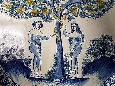 Rare Mid 18th Century English Antique Delftware Adam & Eve Charger Delft Plate
