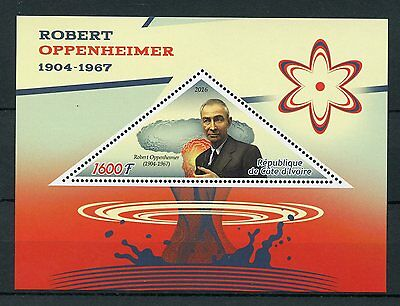 Ivory Coast 2016 MNH Robert Oppenheimer 1v S/S Physics Science Stamps