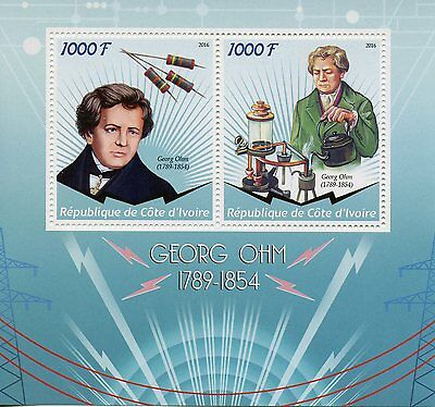 Ivory Coast 2016 MNH Georg Ohm 2v M/S Physics Science Stamps