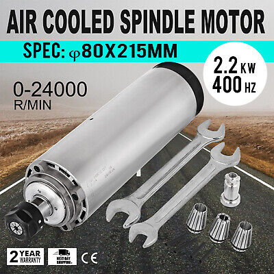 2.2KW ER20 Air Cooled Spindle Motor  Precise Grease Lubrication VFD Driver