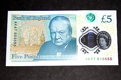 AK47 Bank of England New Polymer £5 Five Pound Note Mint Uncirculated
