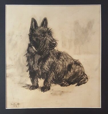 20th C 1930s Signed Scottie Dog Portrait Vere Temple Listed Scottish Terrier