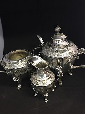 Beautiful Antique 3pcs Silver plated Tea Set By W R Nutt & Co