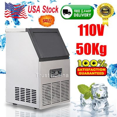 50kg Auto Commercial Ice Maker Cube Machine Stainless Steel Bar 110Lbs 230W,110V