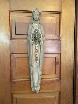 Vintage Italian Wooden Hand Carved Madonna With Bird Statue Wall Hanging