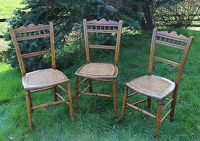 Arts and Crafts (1880-1910) 3 Antique Cane Seat Bedroom Chairs Wicker Edwardian