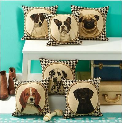 Double Sided Houndstooth Dog Pillow Pug Terrier Lab Bulldog Beagle Dalmation