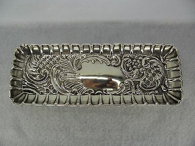 Heavily Embossed Sterling Solid Silver Pen Tray, Birmingham 1904