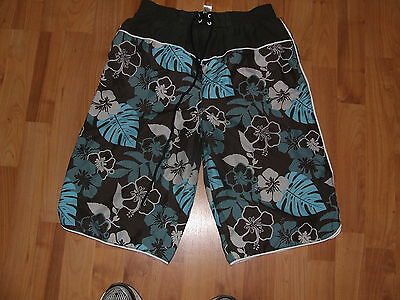 Child's Brown & Blue Board Shorts - Everyday - Size 11 -12 -George - EC
