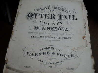 Vintage 1884 Plat Map Otter Tail County Minn Aurdal and Friberg Twp
