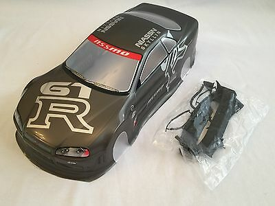 1/10 RC car 190mm on road drift Nissan Skyline GTR R34 Body Shell Touring  Grey