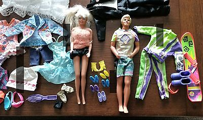 Barbie Ken Dolls with clothing accessories and shoe lot