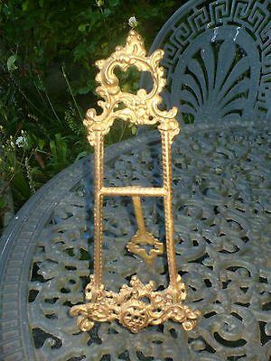 Vintage Ornate Brass Metal Art Easel Picture Frame Victorian Plate Stand VGC