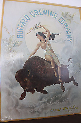 Vintage Buffalo Brewing Company Advertisement Poster on Cardboard and in Plastic