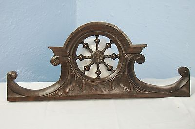 US0004 Antique Wood Pediment: French Hand Carved chestnut wood Overdoor