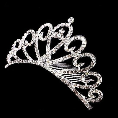 Wedding Party Bridal Clear Crystal Rhinestone Crown Tiara Hairpin Hair Comb