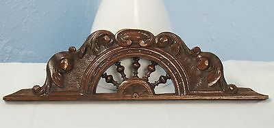 US0010 Antique small Wood Pediment: French Hand Carved Oak Overdoor Architectura