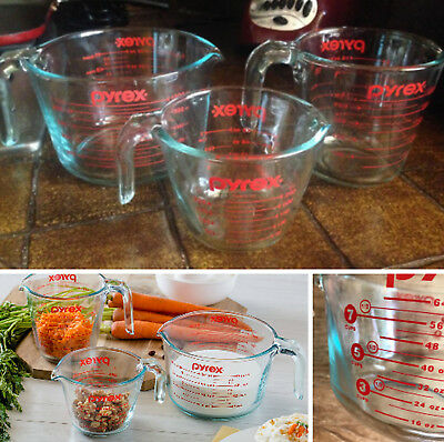 Measuring Cup Set 3 Piece Glass Pyrex Cups - Red