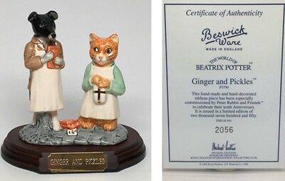 """Beswick Ware Beatrix Potter """"Ginger and Pickles"""" Tableau Figurine"""