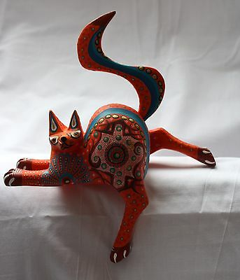 Mexican Oaxacan Carved Hand Painted Alebrije Cat
