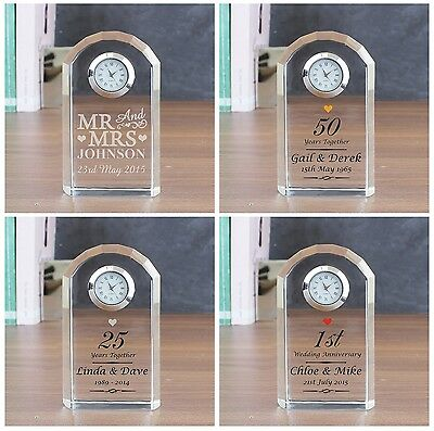 Personalised Crystal Clocks Gifts Ideas For Wedding Day Anniversary Keepsakes