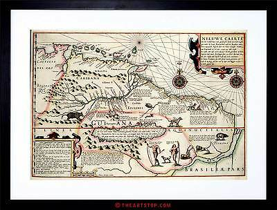 Map Antique Guyana Caribbean South America Framed Print F12X3970