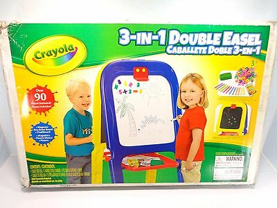 New Crayola 3 In 1 Double Easel 90 Piece, Chalk / White Board Magnetic, Drawing