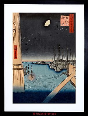 Painting Japanese Woodblock Boats In Harbour Night Framed Print F12X4817