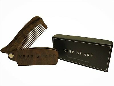Folding Wooden Beard/Moustache comb - KEEP SHARP - sandalwood beard comb