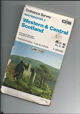 """OS Routemaster Map WEST and CENTRAL SCOTLAND 1/4"""" 1984"""